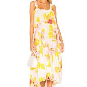 Free People Moonshine Midi Dress in Ivory Combo